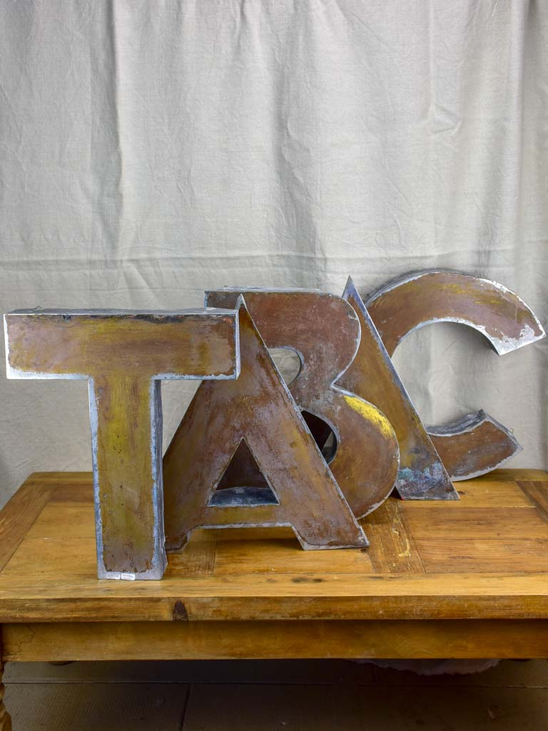 Antique French sign TABAC letters - zinc
