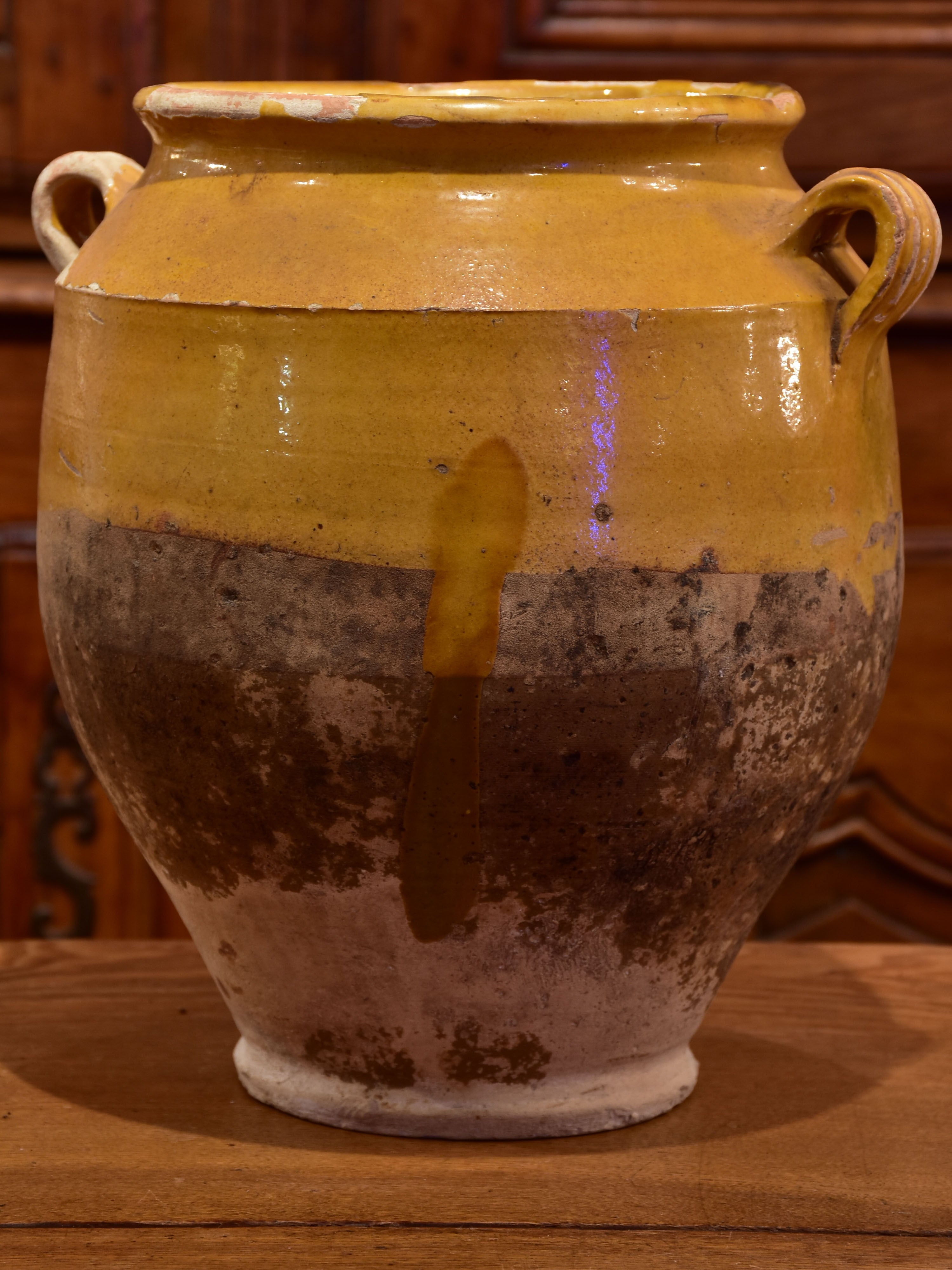 19th century French confit pot with ochre glaze