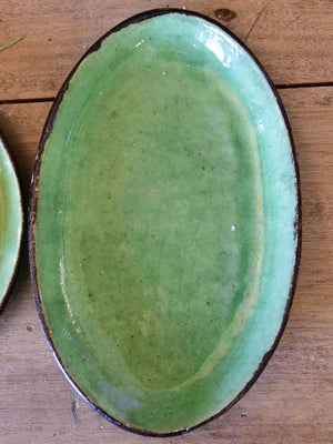 Five vintage French green plates from Dieulefit