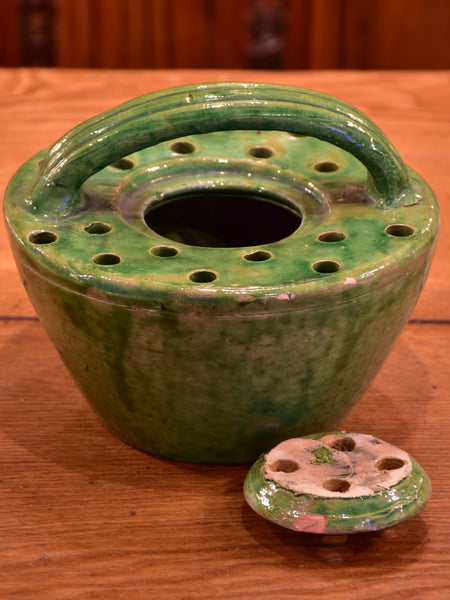 19th century French bed warmer – green glazed