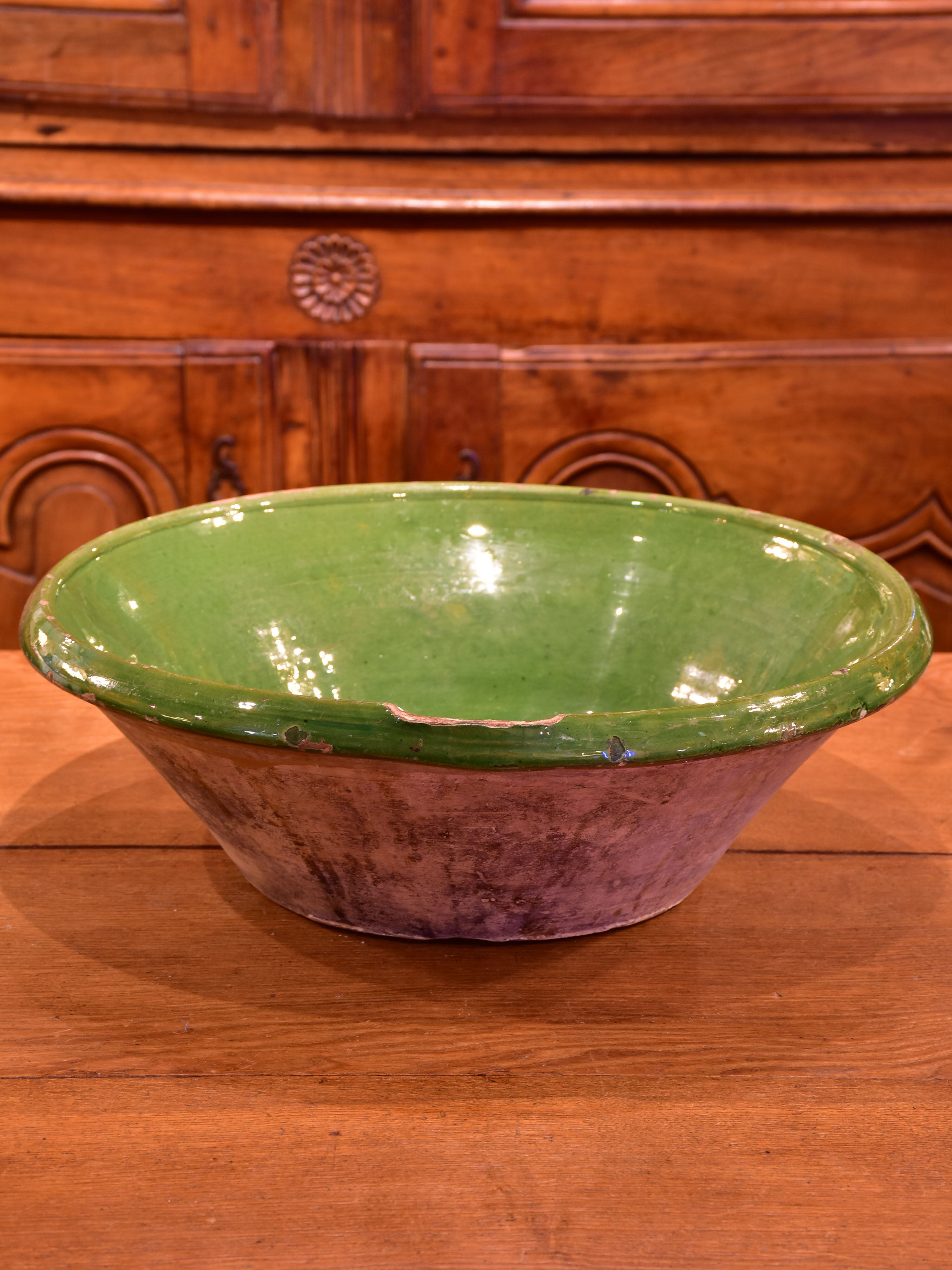 Large green glazed French ceramic bowl from Savoy