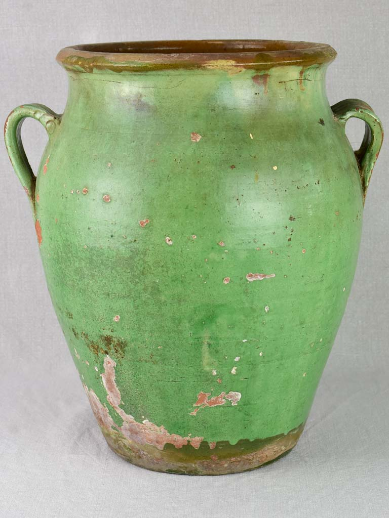 Large 19th Century French preserving pot with green glaze 17¼""