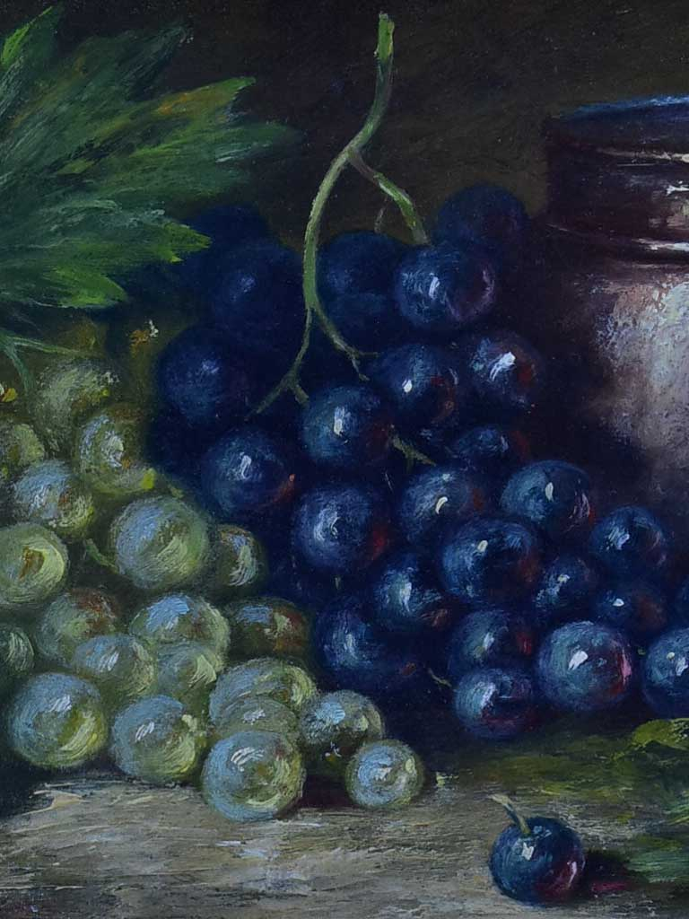 "Antique French still life painting - table grapes 16 ¼"" x 11 ¾"""