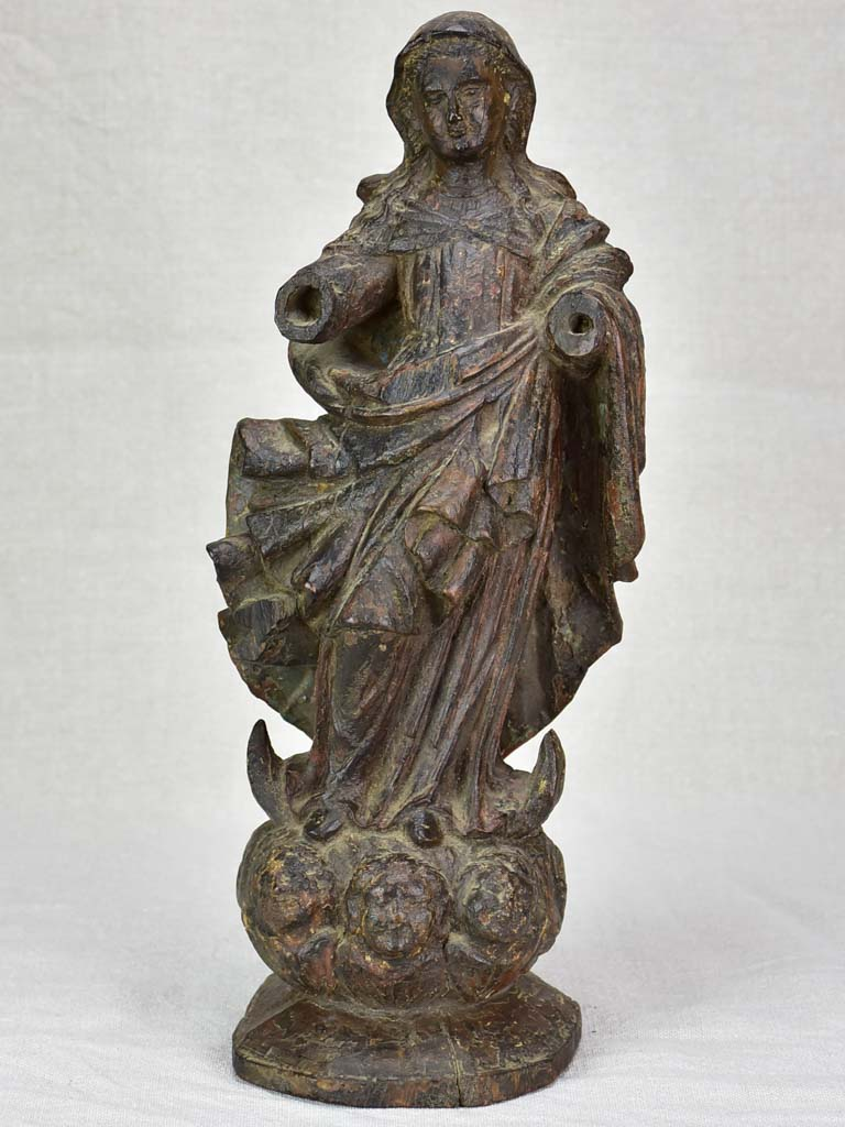 Antique French religious wooden sculpture of the Virgin Mary 16½""