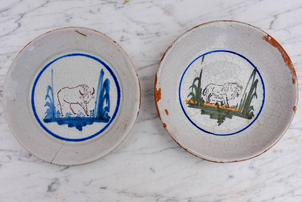 Pair of antique French animal plates - hand painted
