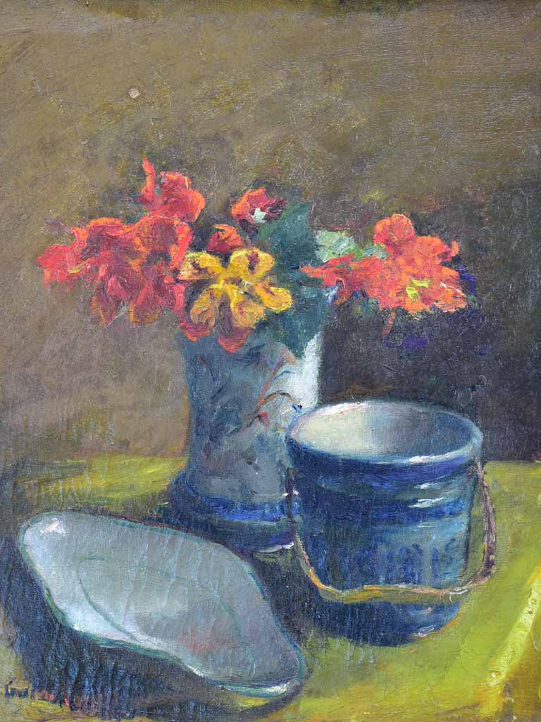 "Antique French still life - nasturtiums and pottery 19"" x 22"""