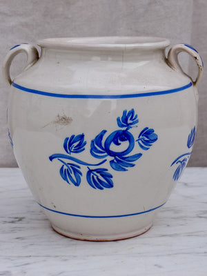 19th Century French confit pot with handpainted blue flowers 7""