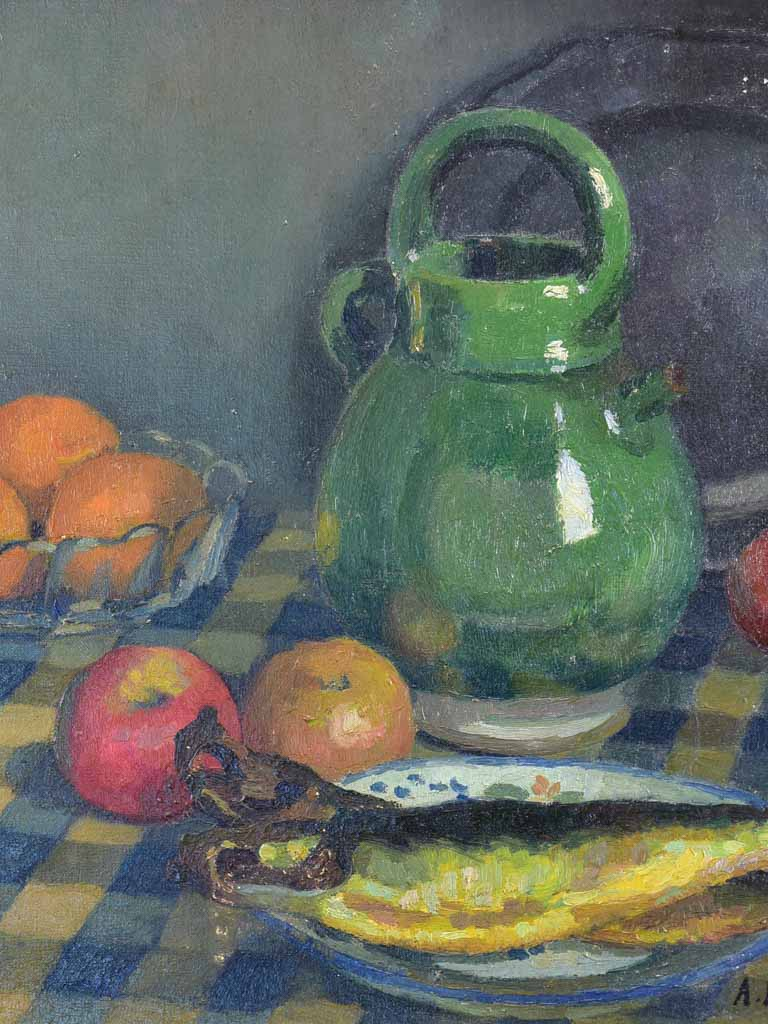 "Antique French still life - fruit and fish on a blue and white tablecloth 18"" x 21 ¾"""