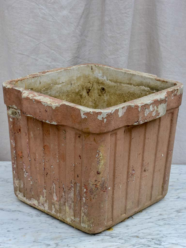 Mid-century Willy Guhl ribbed square planter