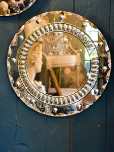 Round vintage French mirror with decorative frame