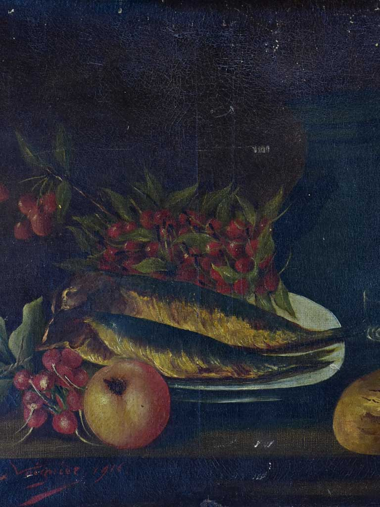 Antique French still life - fish, cherries and radish 21 ¾ x 18""""