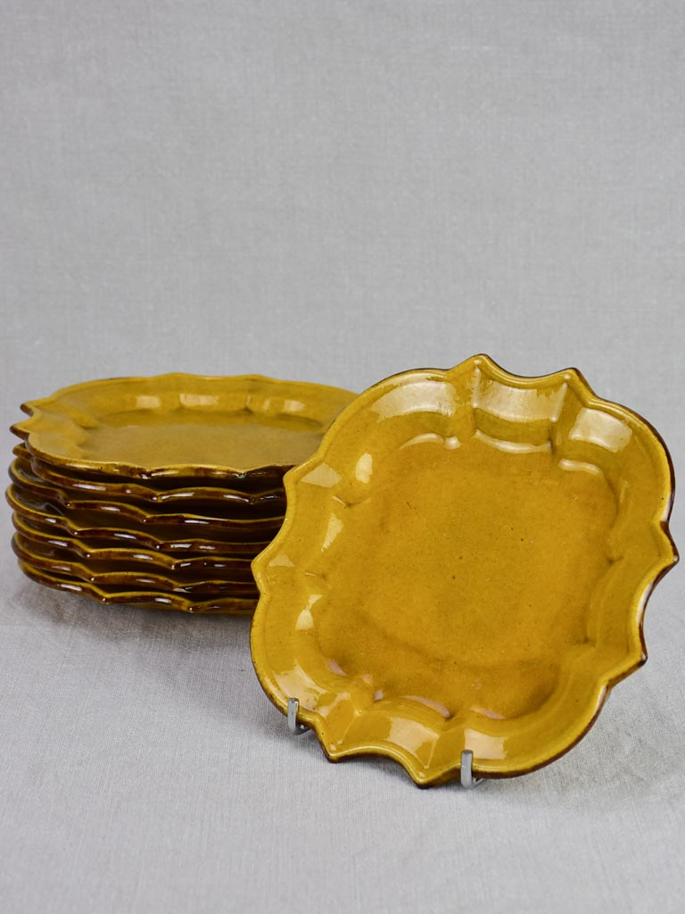 Set of 8 pretty dessert plates with scalloped edge and yellow / orange glaze - 1960 - 8""