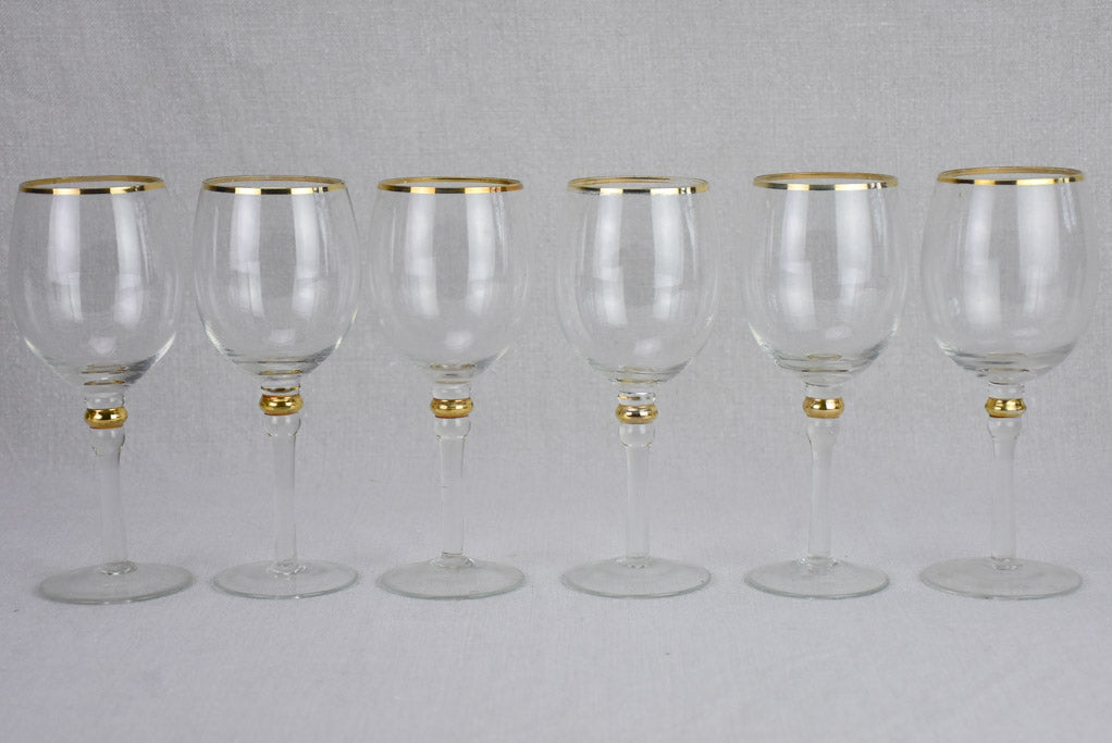Set of 6 antique wine glasses with gold trim - crystal