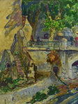 Antique French painting of a Provincial village, 1940's - 22 ½ x 26 ½""""
