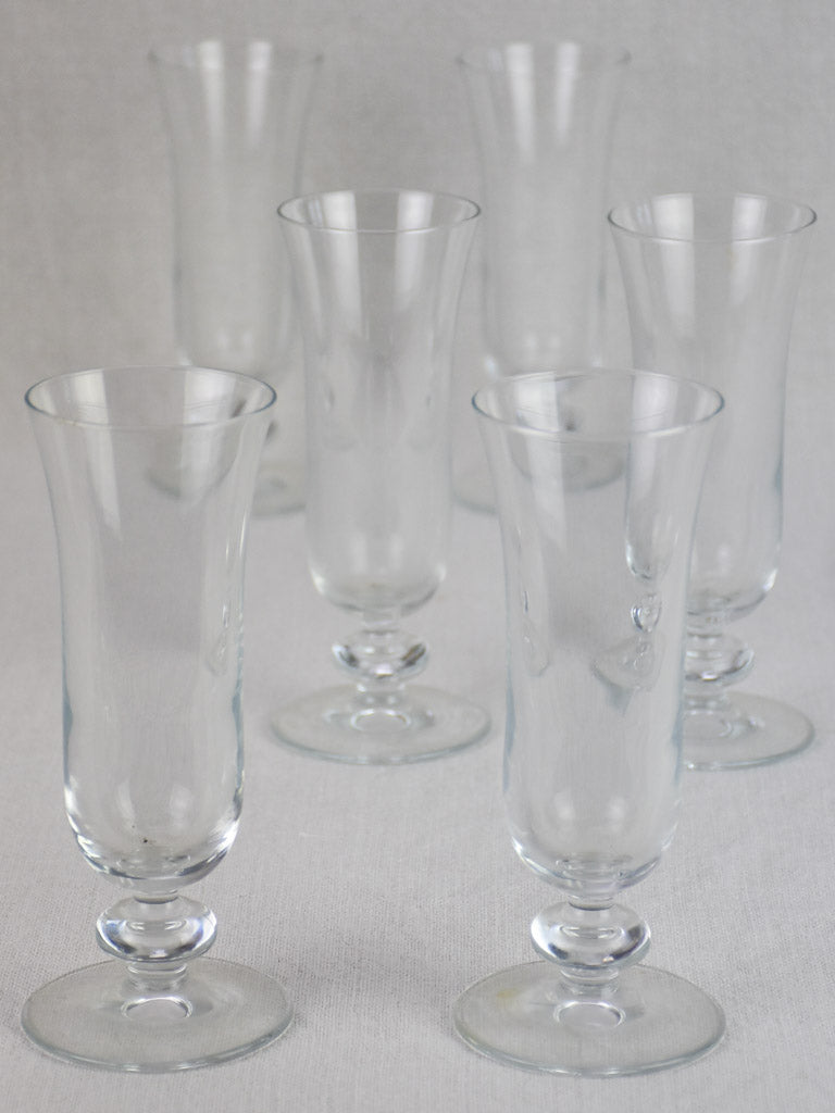 Collection of 6 antique French champagne flutes