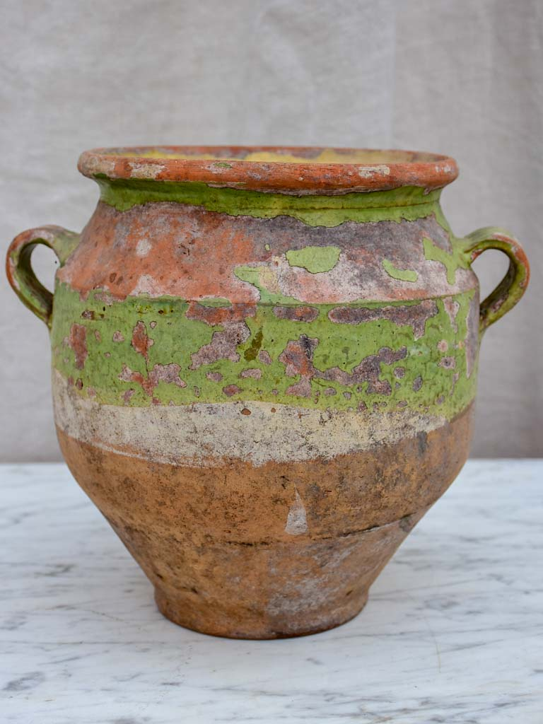 Antique French confit pot with rustic green glaze 8¾""