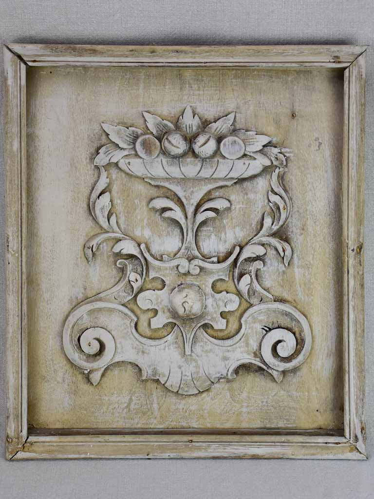 "Salvaged boiserie with fruit basket motifs 17"" x 19¼"""