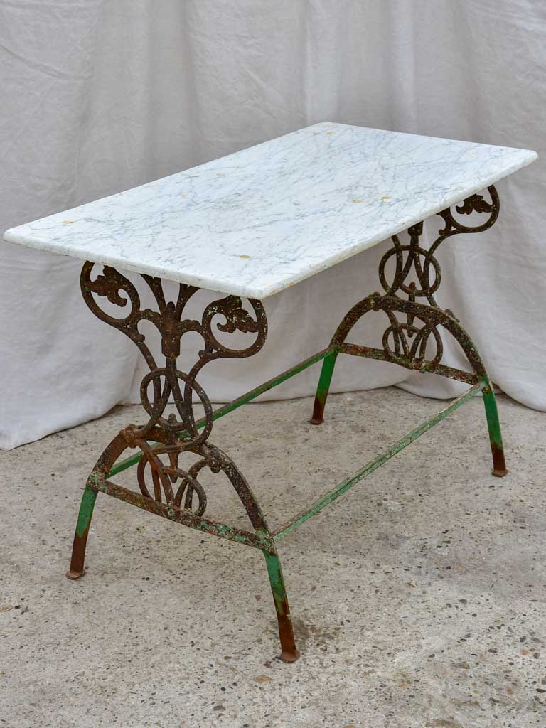 Rectangular marble French garden table with pretty green wrought iron base