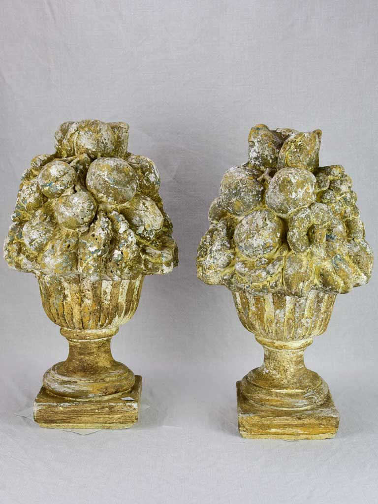 Pair of vintage French garden fruit basket finials 19¼""
