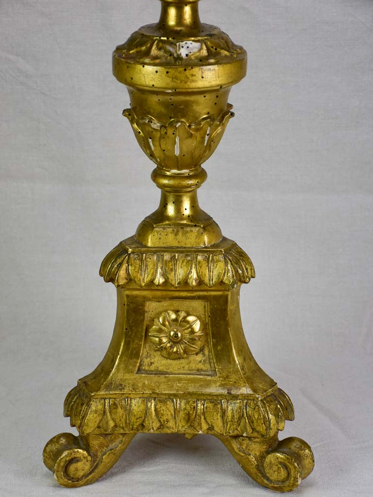 Very large antique French gilded altar candlestick 35½""