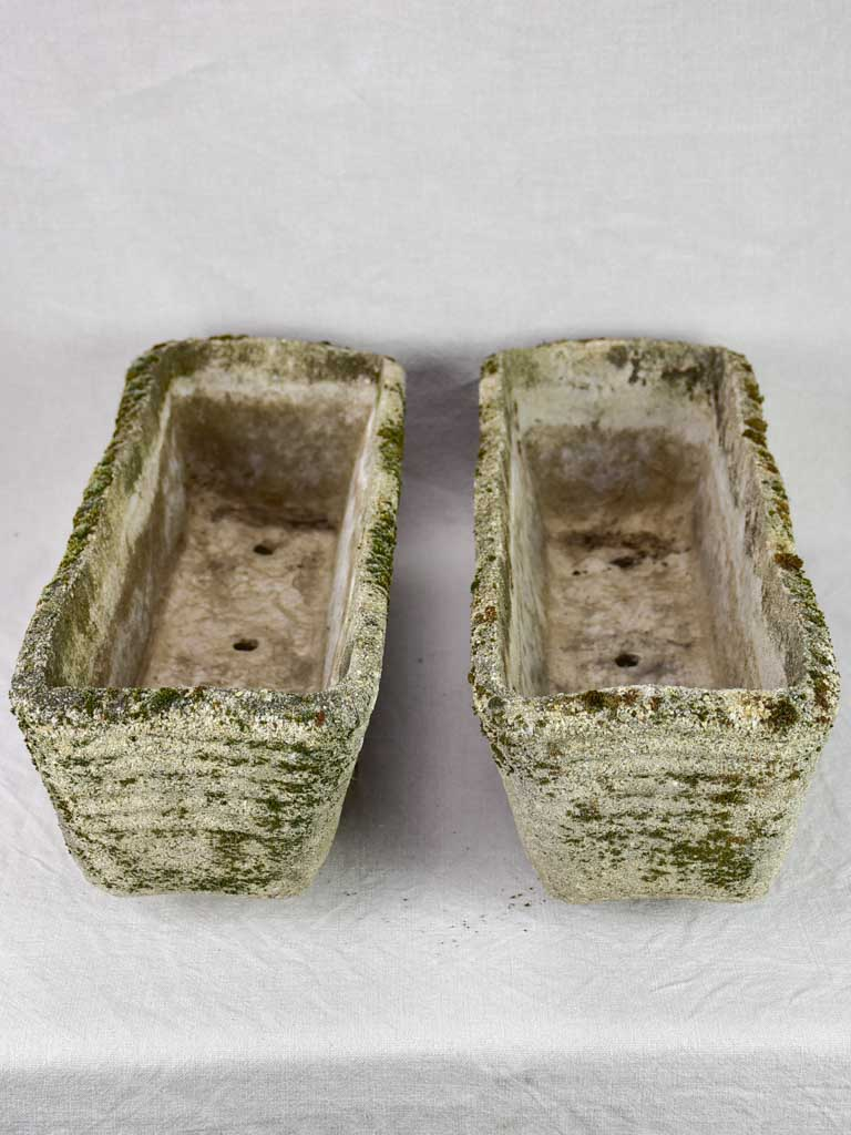 Pair of vintage reconstituted stone planters - rectangular 23¼""