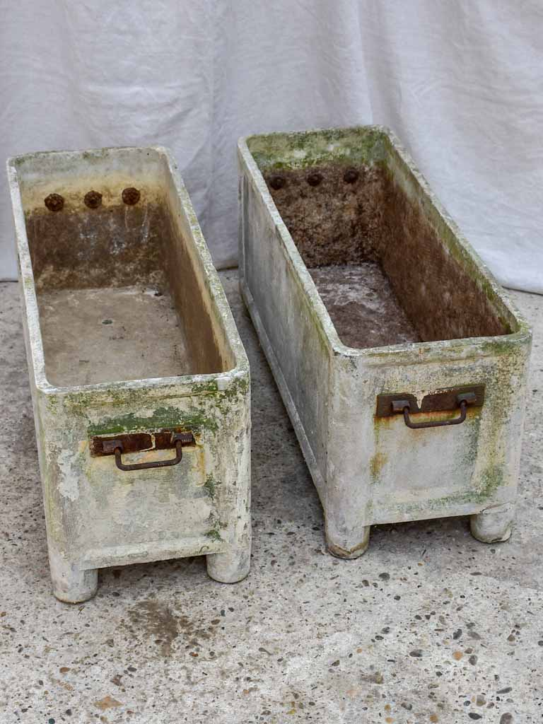 Pair of mid-century French rectangular garden planters / window boxes - Chanal Paris