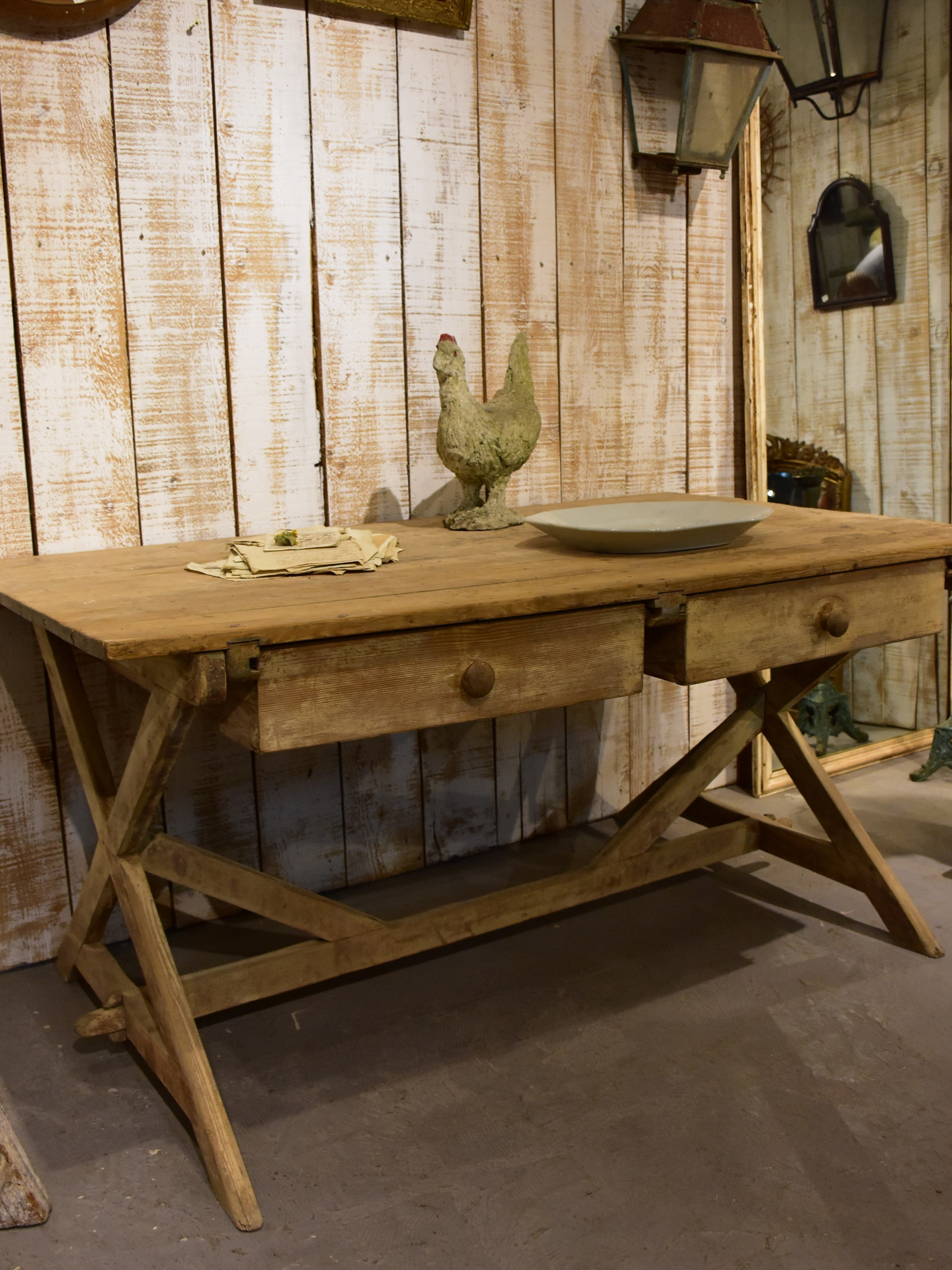 Large 19th century French farm table with cross braced legs