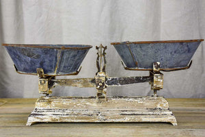 Antique French kitchen scales with zinc bowls