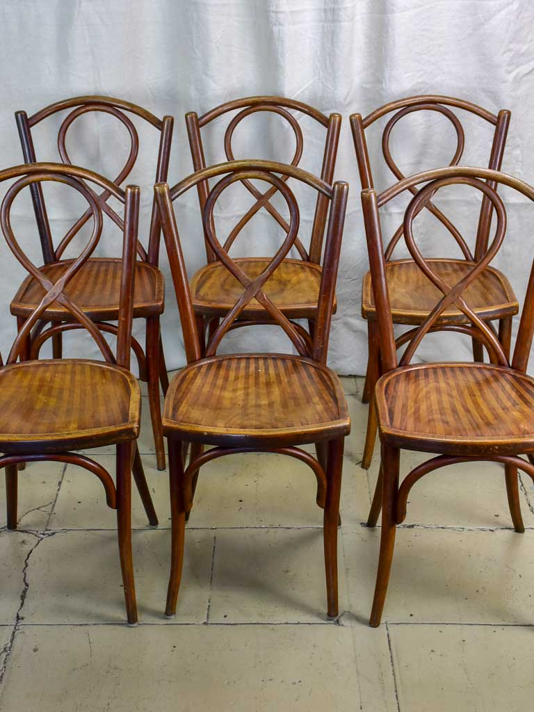 Six late 19th Century French bistro bentwood chairs