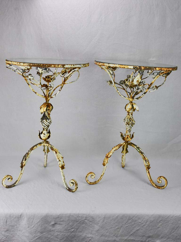 Pair of pretty weathered side tables with floral decoration and glass top