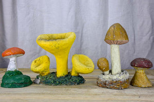Collection of vintage wild mushroom sculptures - cement