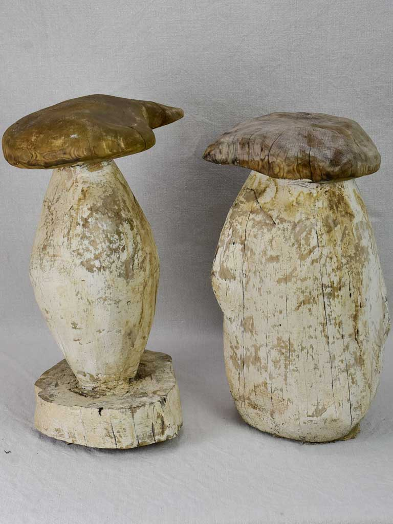 Two artisan made carved timber garden mushroom stools