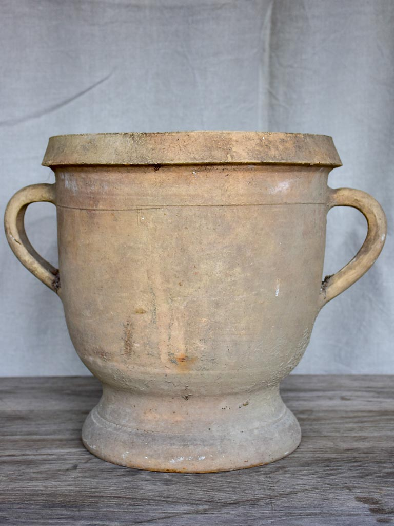 Antique French terracotta garden planter with two handles