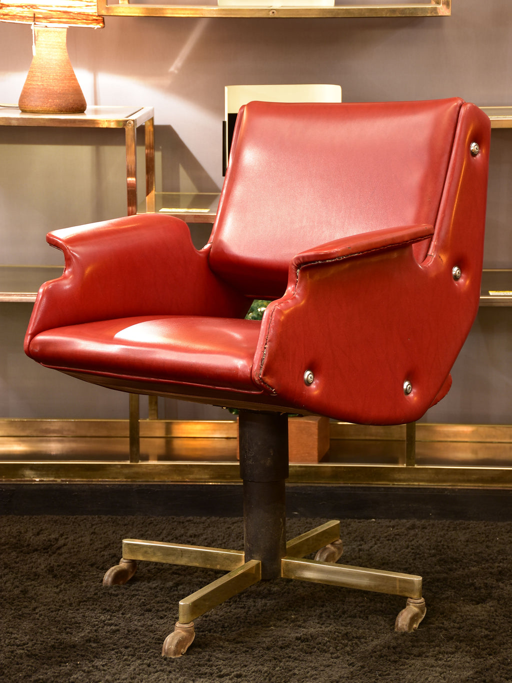 Vintage French swivel armchair - red skai 1960's