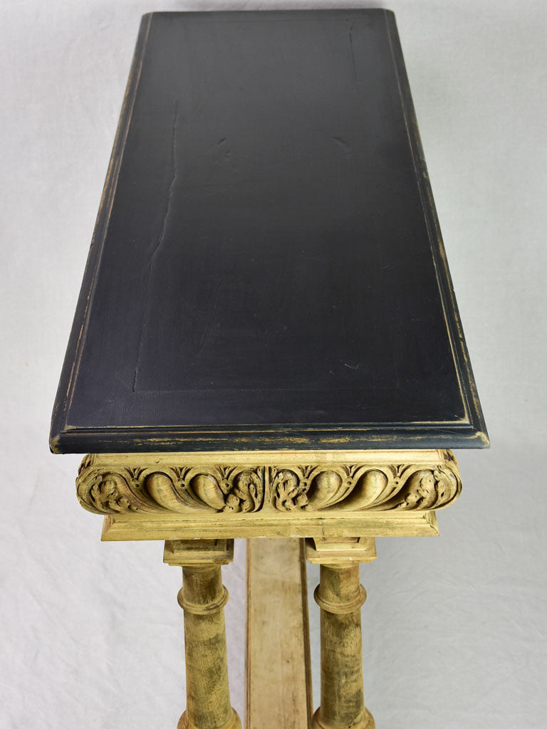 "Narrow antique French console table - bleached walnut base and black painted top 15¾"" x 47¼"""