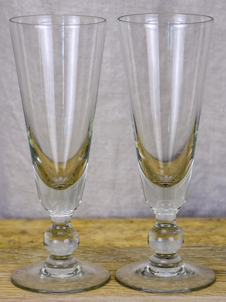 Six early 20th Century French champagne flutes - blown glass