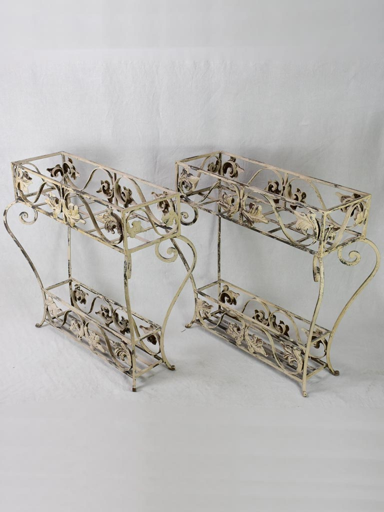 Large pair of vintage French wrought iron pot plant stands