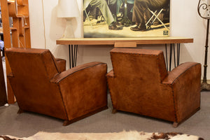 Pair of Art Deco French leather club chairs