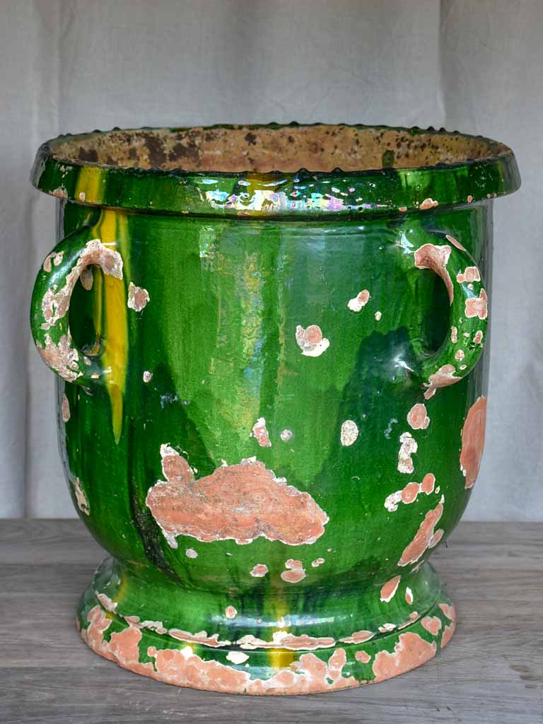 Very large French garden planter with green glaze