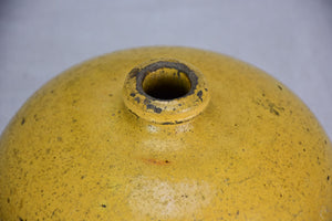 19th Century French ceramic hot water bottle with yellow glaze 7""