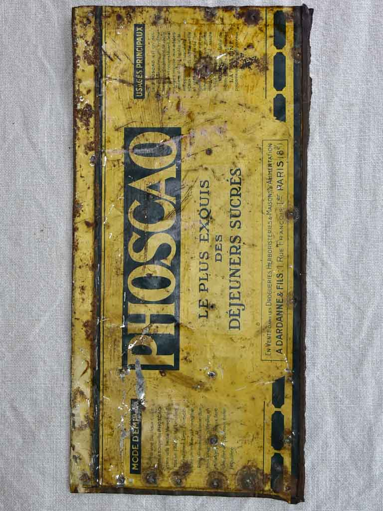"Rustic vintage enamel sign - Pohscao coffee 13¾"" x 6¾"""