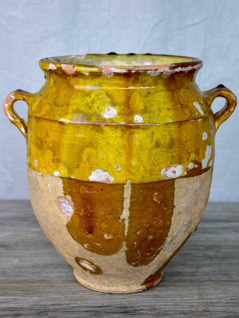 Antique French confit pot with orange glaze 9 ½""