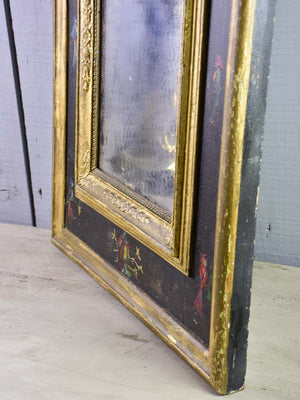 "Pretty antique French mirror with broad frame decorated with parakeets - Napoleon III 32¾"" x 22"""