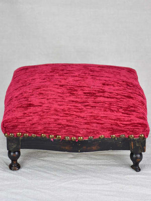 Antique French footstool with red  upholstery 12½""