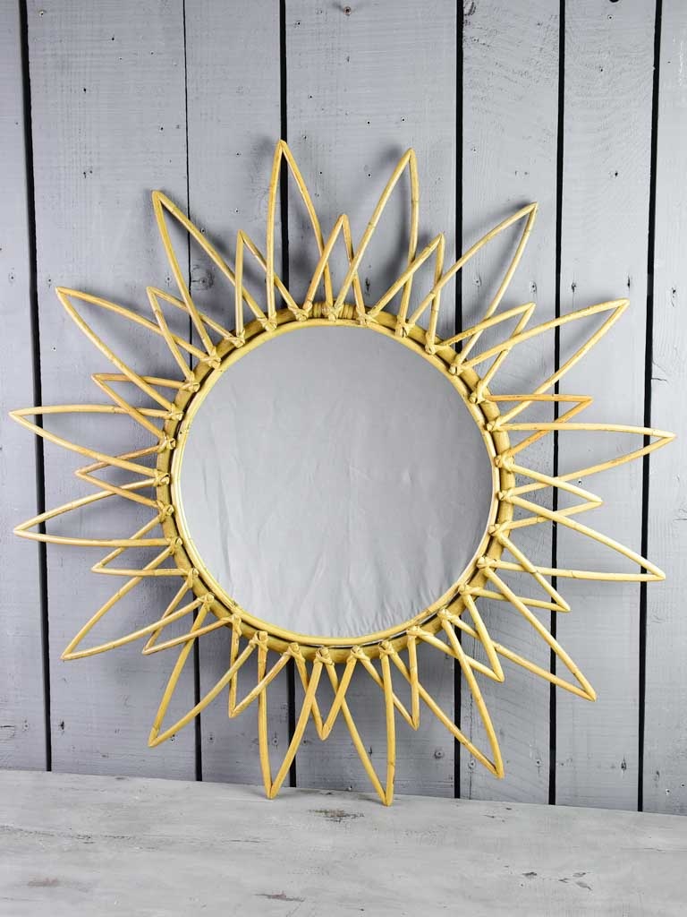 Vintage French cane sunburst mirror 35½""
