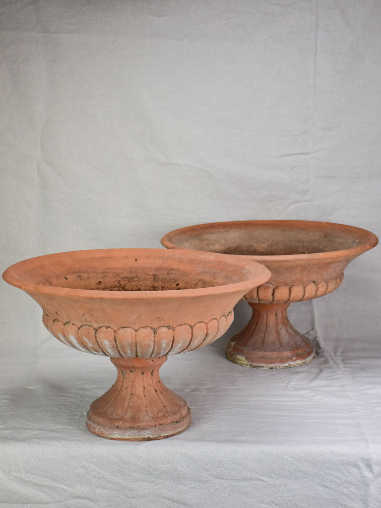 Pair of antique French terracotta planters - Medici form 19¼""