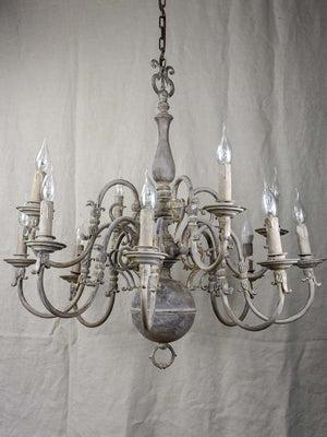 "Large early 20th Century Dutch chandelier with grey patina 31½"" diameter"