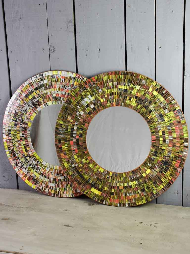 Pair of round vintage mirrors with colorful mosaic frames 23¾""