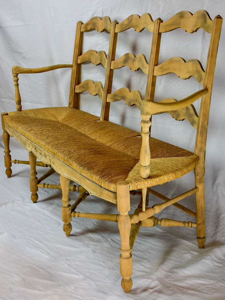 French Provincial rush banquette - three seat 57½""