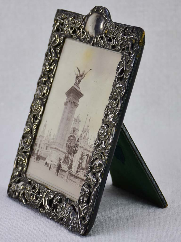 Antique English Edwardian silver photo frame 1904